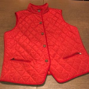 TALBOTS Burnt Orange Qulited Snap Down Vest Size L